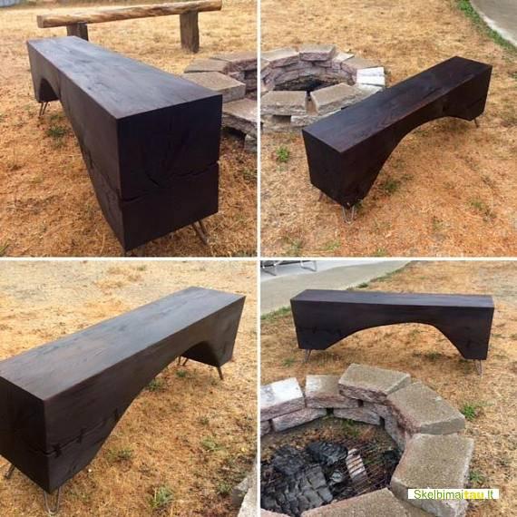 Degintos medienos interjero detalės