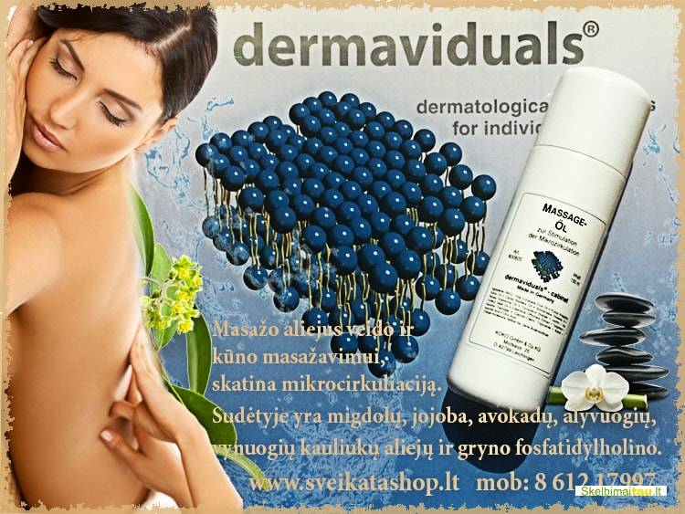 Dms aliejus masažui skatina mikrocirkuliaciją dermaviduals®