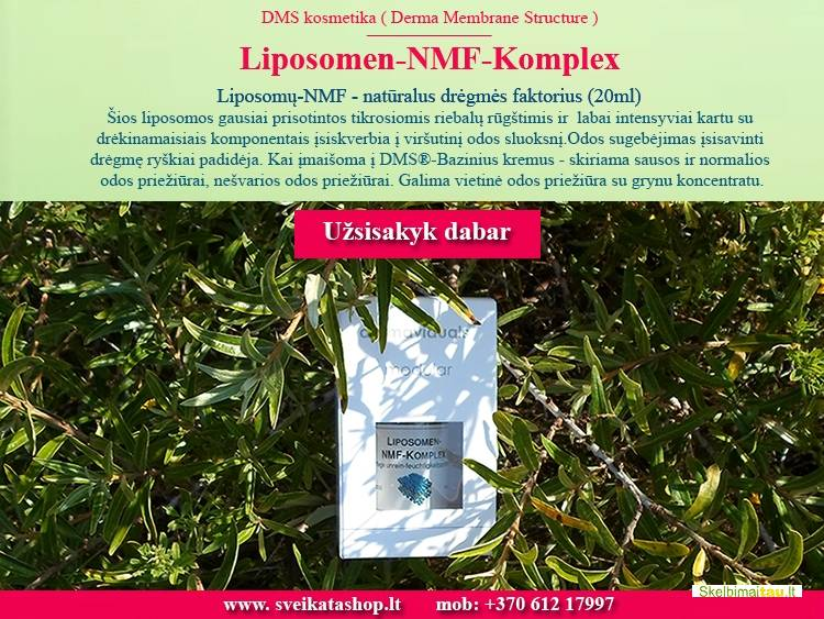Liposomų nmf kompleksas dermaviduals intensyviai drėkina oda