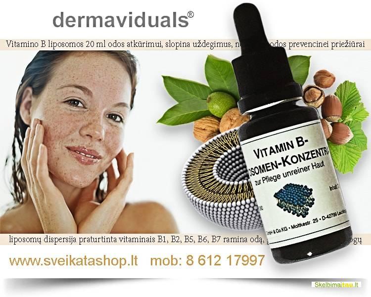 Vitamino b liposomos koko dermaviduals® odos atkūrimui